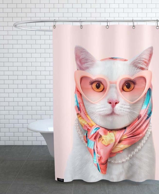 Lustig, Katzen, Fashion Cat -Duschvorhang