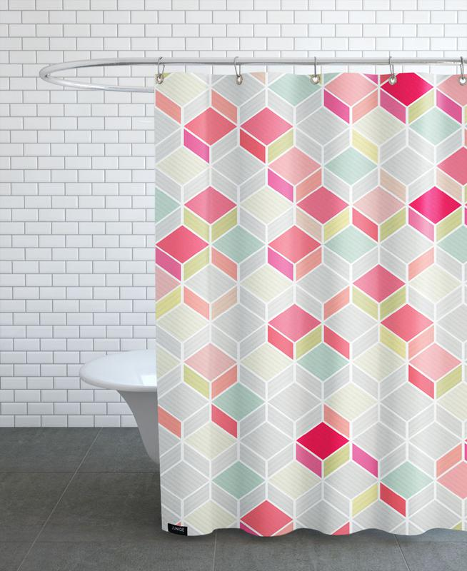 Patterns, Cube Pink Shower Curtain