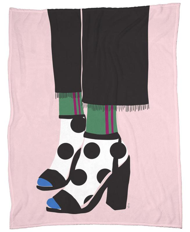 Polka Dot Socks in Heels Fleece Blanket