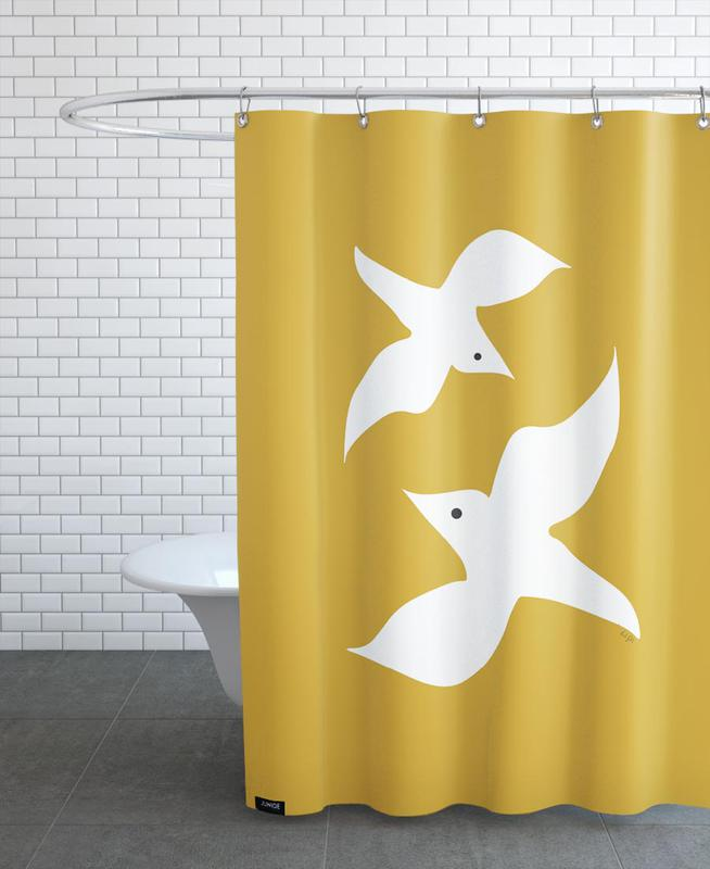 Birds in Mustard Shower Curtain