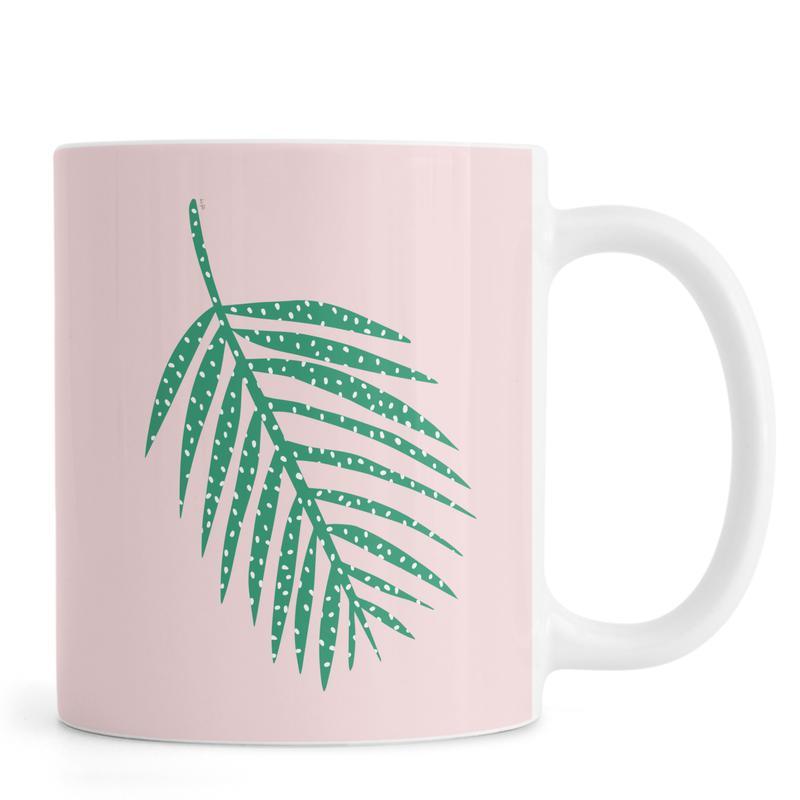 Polka Dot Leaf in Pink Mug