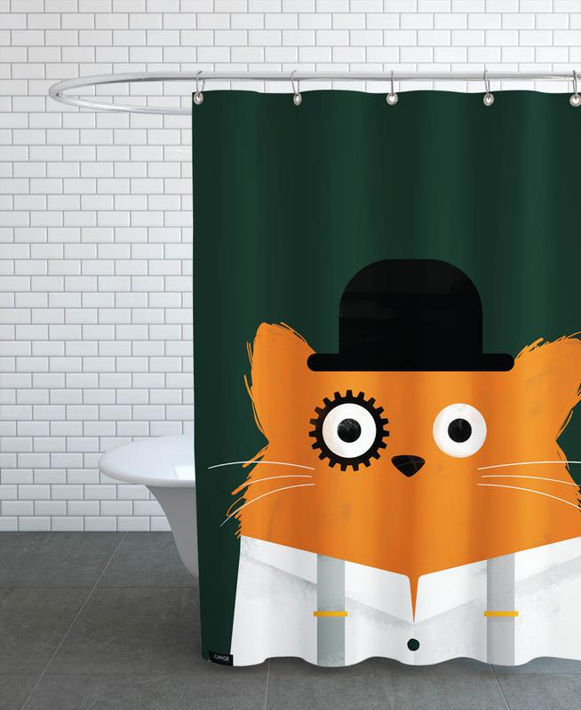 Cat - Clockwork Shower Curtain