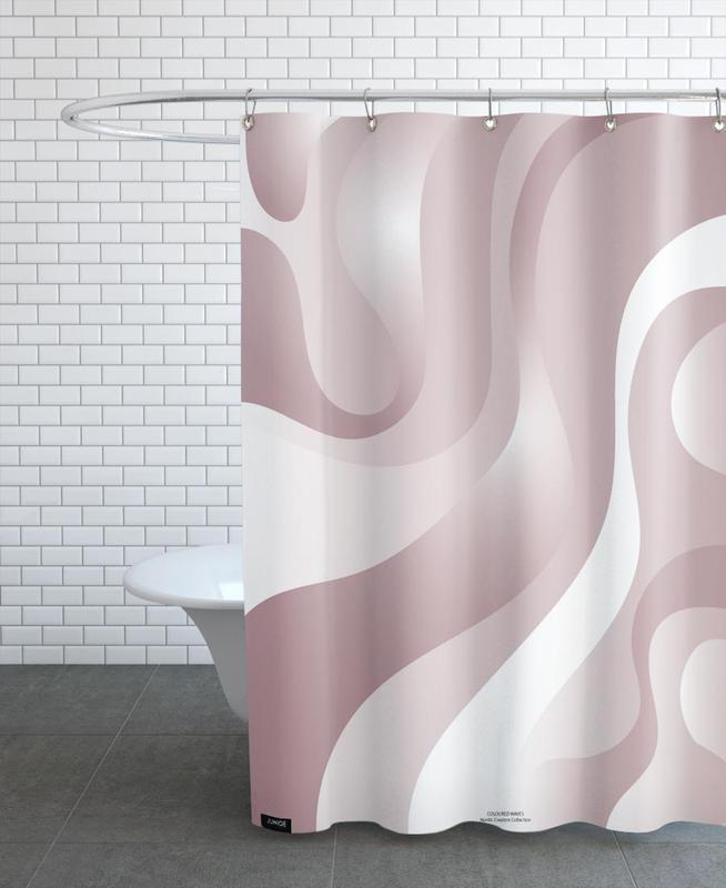 , Coloured Waves - Pink Shower Curtain