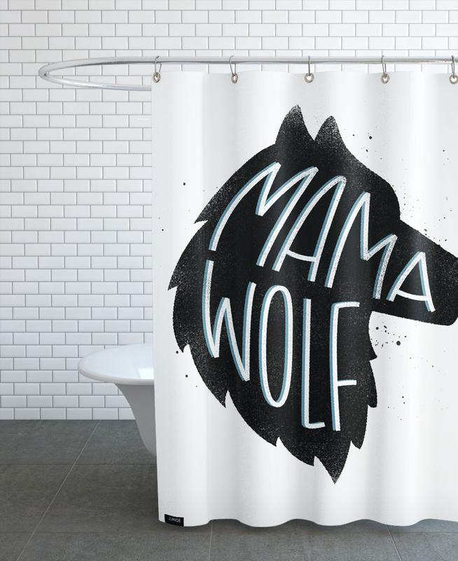Nursery & Art for Kids, Quotes & Slogans, Birth & Babies, Wolves, Mama Wolf Shower Curtain