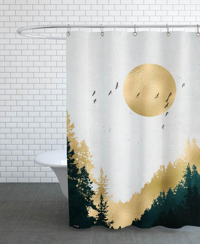 Mountains, Abstract Landscapes, Forests, Goldmond Shower Curtain