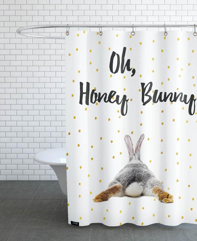Valentinstag, Liebe & Jahrestage, Zitate & Slogans, Kaninchen, Honey Bunny -Duschvorhang