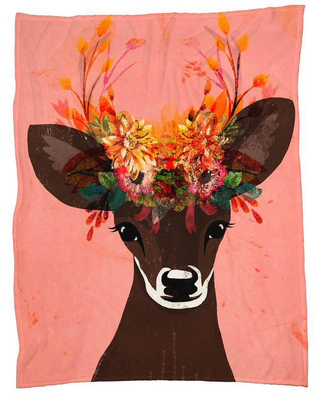 Blooming Deer -Fleecedecke
