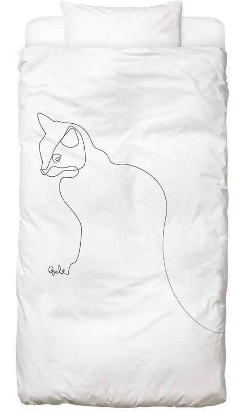 Chats, Noir & blanc, One Line Cat Linge de lit