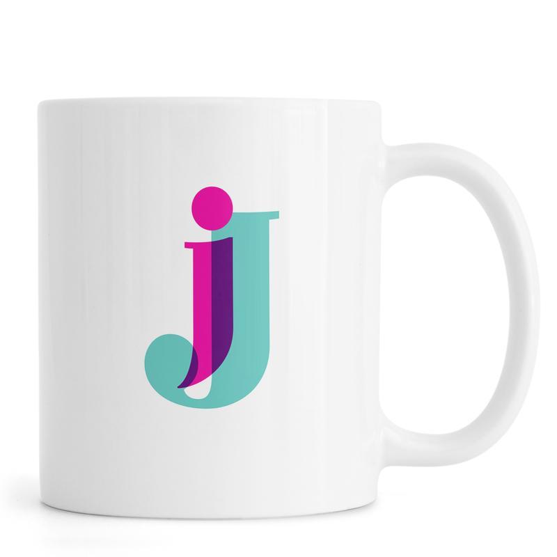 Alphabet & Buchstaben, Magenta/Mint J -Tasse