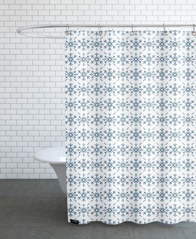Snowflakes White-Blue Shower Curtain