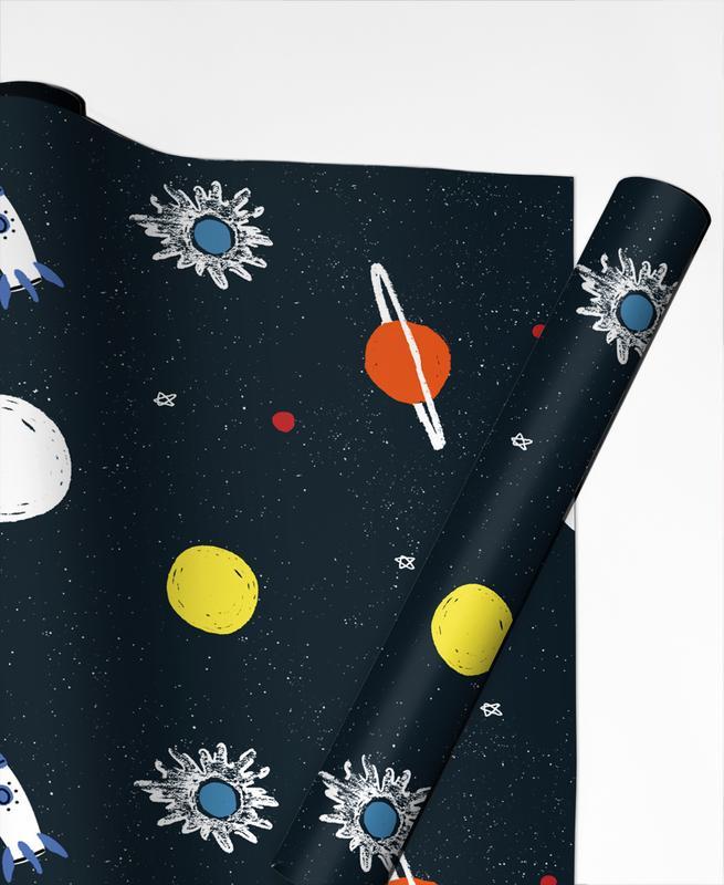 Nursery & Art for Kids, Spaceships & Rockets, Planets Pattern Gift Wrap