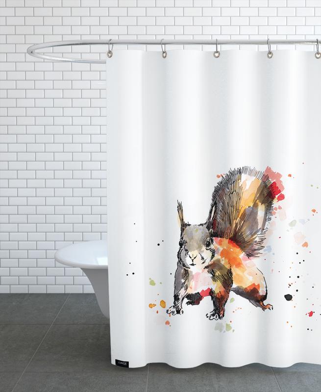 Kinderzimmer & Kunst für Kinder, Eichhörnchen, Ed -Duschvorhang