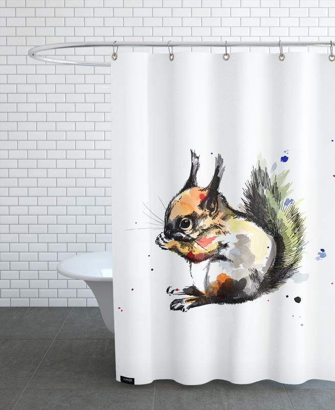 Kinderzimmer & Kunst für Kinder, Eichhörnchen, Erin -Duschvorhang