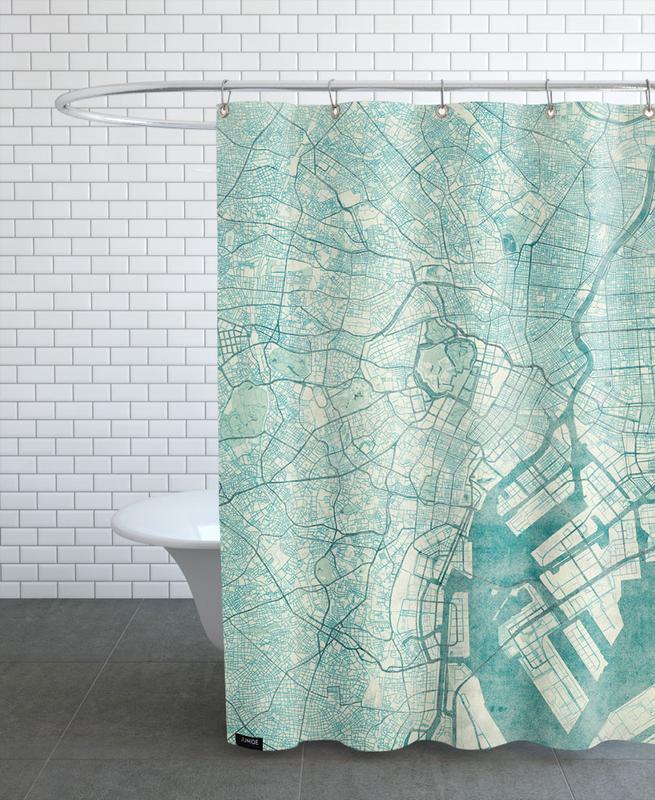 City Maps, Tokyo, Tokyo Vintage Shower Curtain