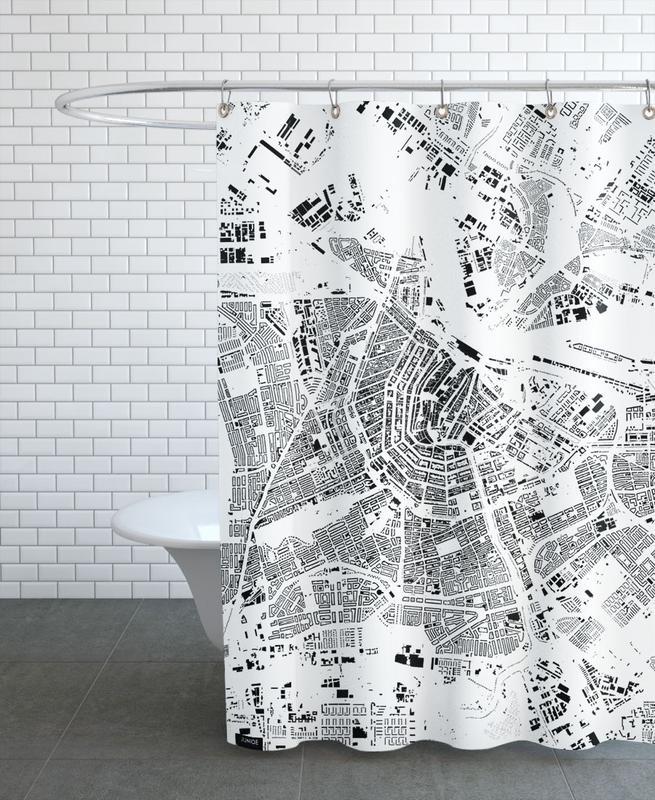 Noir & blanc, Cartes de villes, Amsterdam, Amsterdam Map Schwarzplan rideau de douche