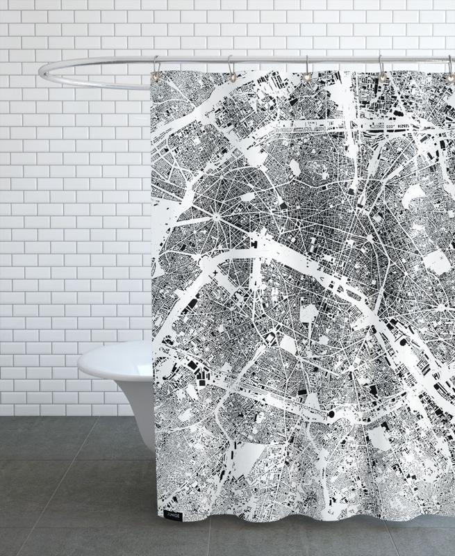 City Maps, Black & White, Paris, Paris Map Schwarzplan Shower Curtain