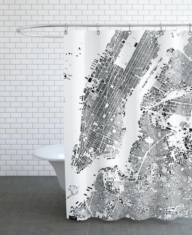 New York, City Maps, Black & White, New York Map Schwarzplan Shower Curtain