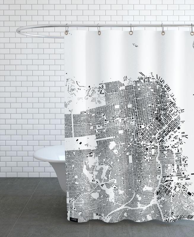 Noir & blanc, Cartes de villes, San Francisco, San Fransico Map Schwarzplan rideau de douche