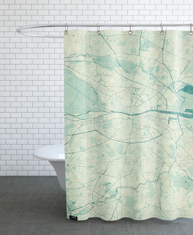 City Maps, Dublin, Dublin Vintage Shower Curtain