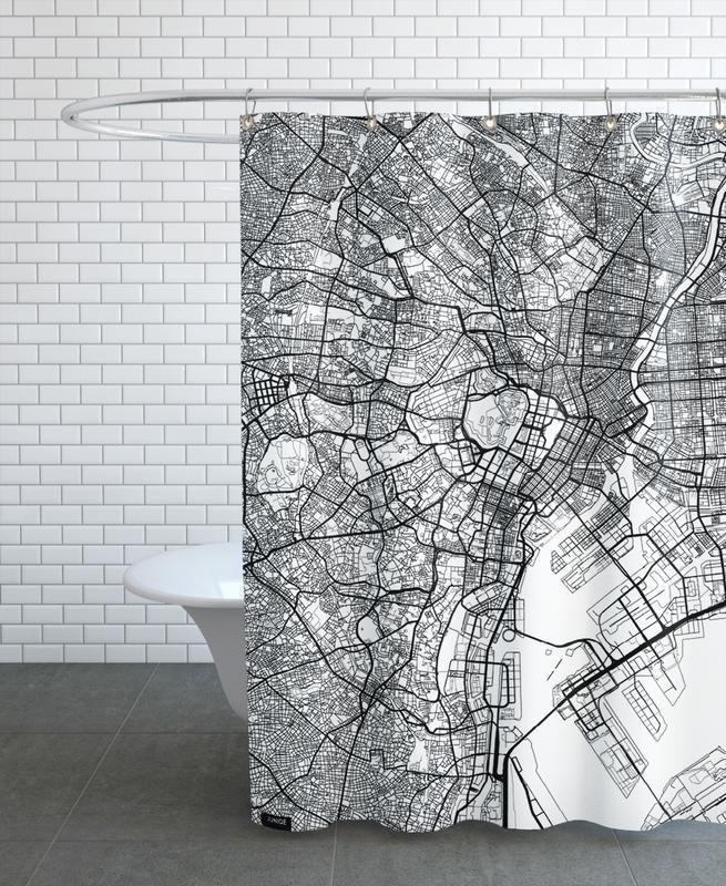 City Maps, Tokyo, Tokyo Minimal Shower Curtain
