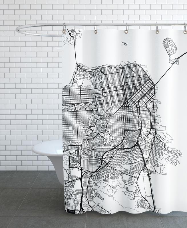 San Francisco, Cartes de villes, San Francisco Minimal rideau de douche