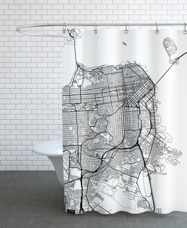 San Francisco, City Maps, San Francisco Minimal Shower Curtain