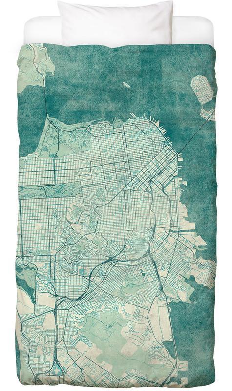 San Francisco, Stadskaarten, San Fransico Vintage Dekbedovertrekset