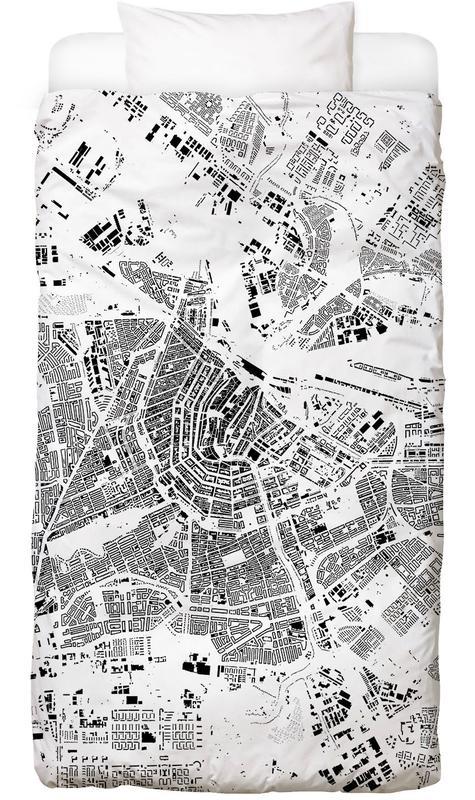 Amsterdam Map Schwarzplan Bed Linen