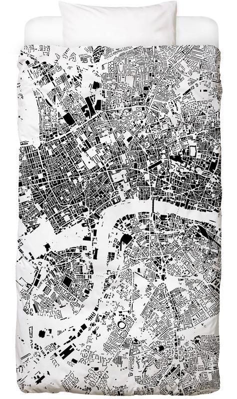 London, Black & White, City Maps, London Map Schwarzplan Bed Linen