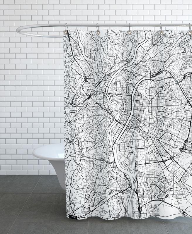 City Maps, Lyon, Lyon Minimal Shower Curtain