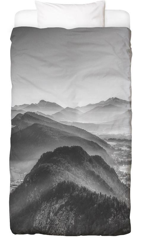 Mountains, Black & White, Balloon Ride over the Alps 3 Bed Linen