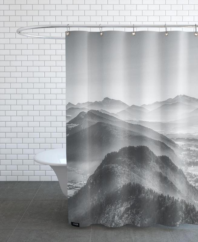 Mountains, Black & White, Balloon Ride over the Alps 3 Shower Curtain