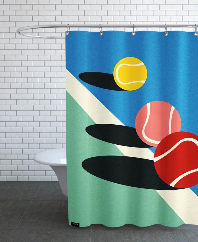 3 Tennis Balls Shower Curtain
