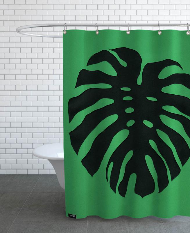 Black Monstera Shower Curtain