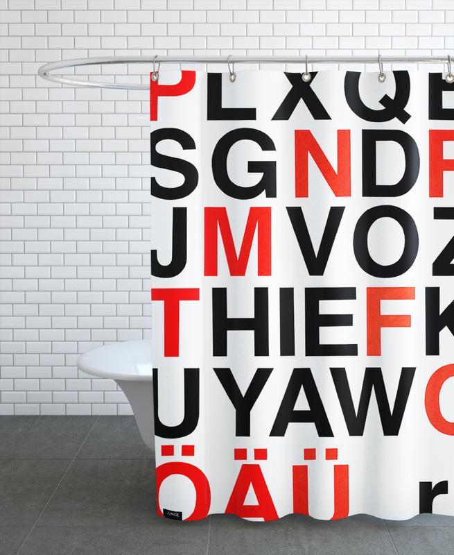Alphabet Neon Red And Black -Duschvorhang