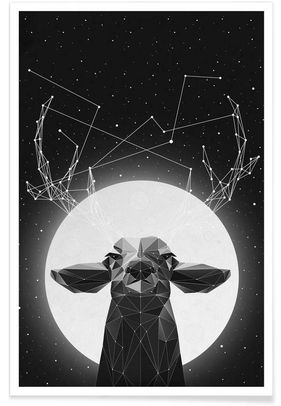 Schwarz & Weiß, Hirsche, The Banyan Deer -Poster