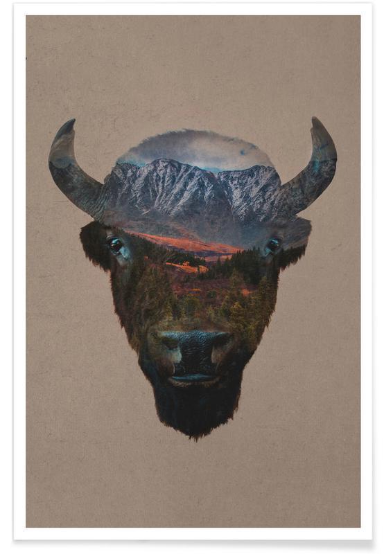 Montagnes, Buffles, Bison Peak affiche