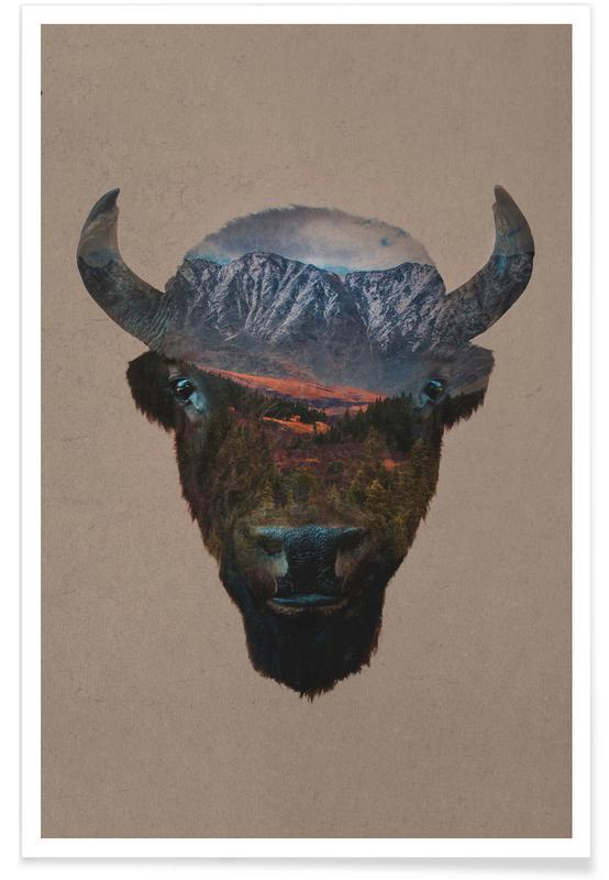Berge, Büffel, Bison Peak -Poster