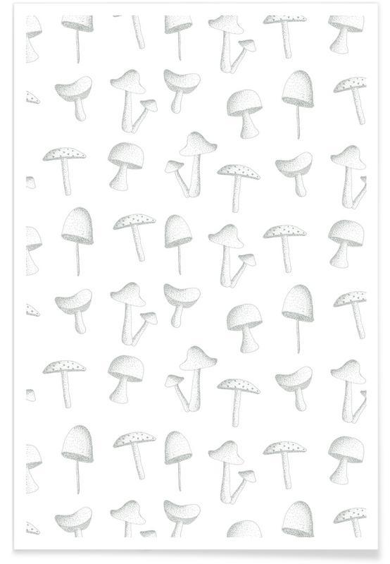 Noir & blanc, Champignons, Mushrooms affiche