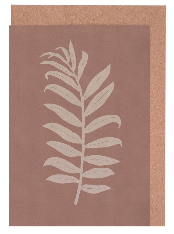 Blätter & Pflanzen, Areca Palmata Brickpink -Grußkarten-Set
