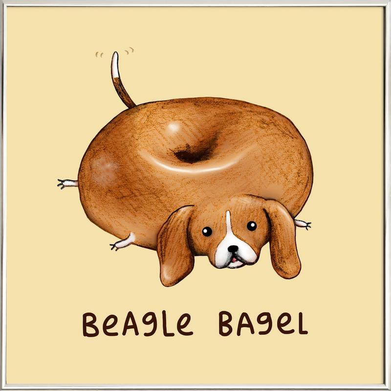 Beagle Bagel poster in aluminium lijst