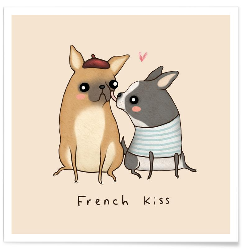 Hunde, Lustig, Paare, French Kiss -Poster