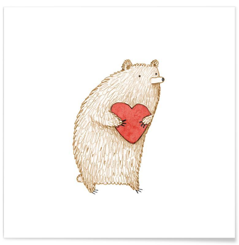 Barnkammar & konst för barn, Hjärtan, Björnar, Bear With Heart Poster