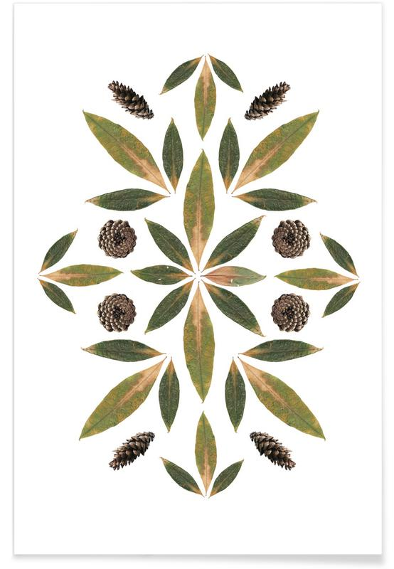 , Pinecones and Leaves poster