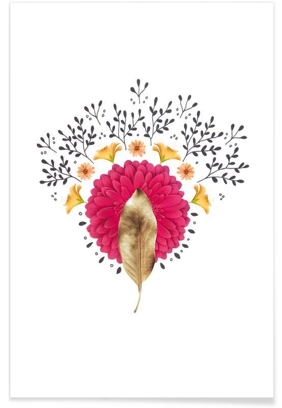 Bladeren en planten, Dried Leaf 01 Collage poster