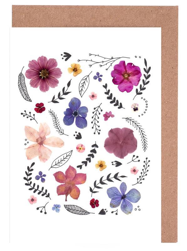 Pressed Flowers 03 Greeting Card Set
