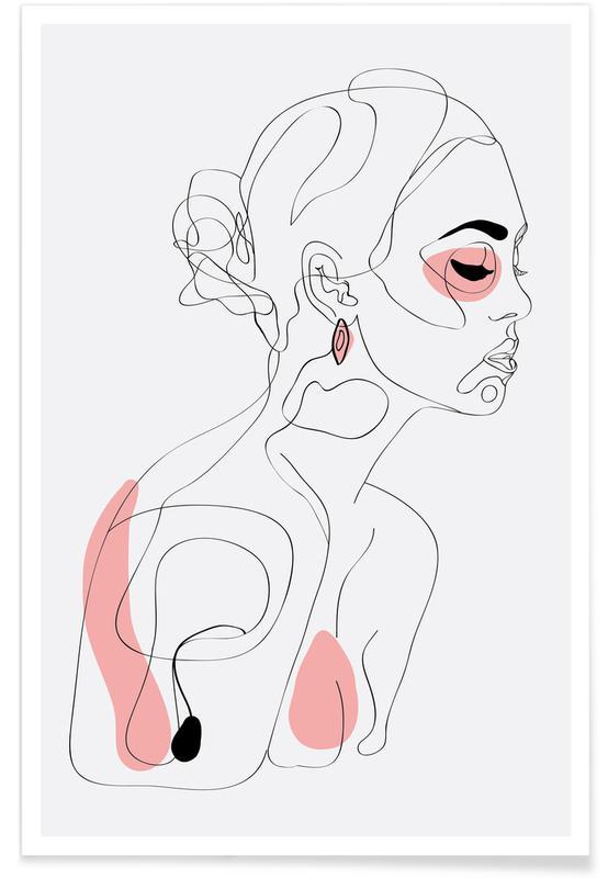 Illustrations de mode, Portraits, One Line Girl Part 1 affiche