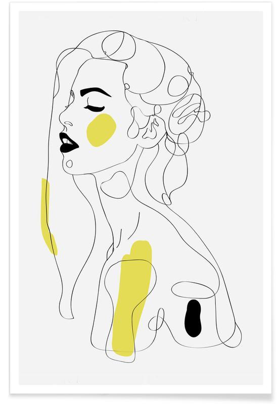 Illustrations de mode, Portraits, One Line Girl Part 2 affiche