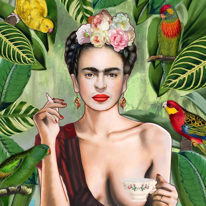 Frida Con Amigos -Acrylglasbild