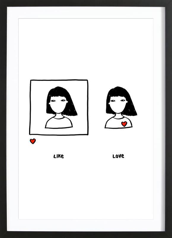 Like vs Love ingelijste print